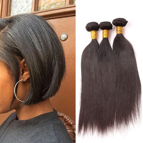 4 bundles Straight Hair Styles Brazilian Virgin Hair Short Coarse Yaki Straight Bob Hair Cut 100
