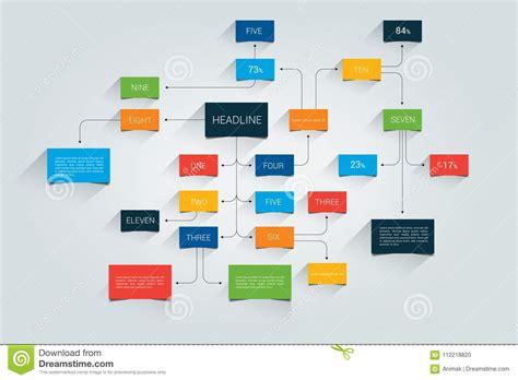 Flat Flow mind map flowchart infographic stock vector