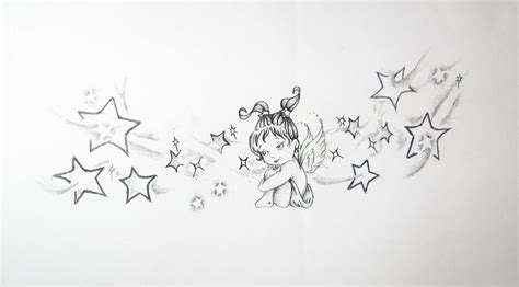 stars around sweet baby angel tattoo design