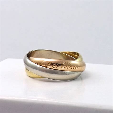 must de cartier 18k tricolor gold trinity amour rolling wedding band ring sz 6 5 ebay