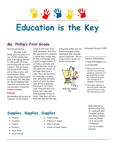 back to school newsletter