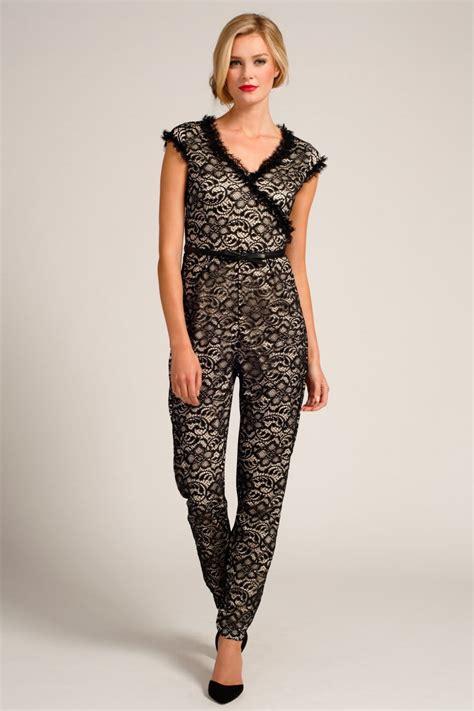 Place Jumpsuit black lace overlay v neck jumpsuit