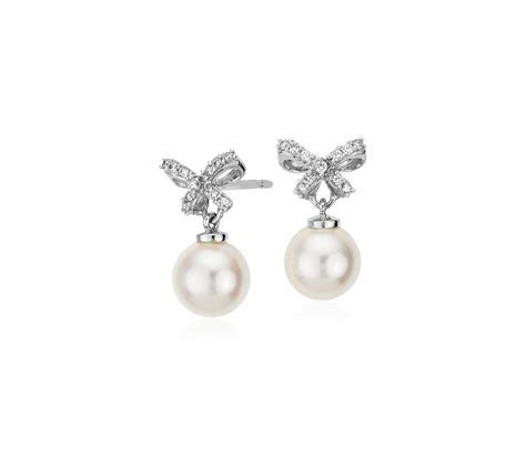 Freshwater Cultured Pearl and Diamond Bow Drop Earrings in