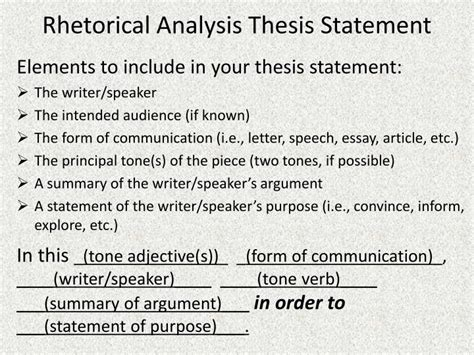 Rhetorical Essay Exles by Ppt Rhetorical Analysis Thesis Statement Powerpoint Presentation Id 1145670