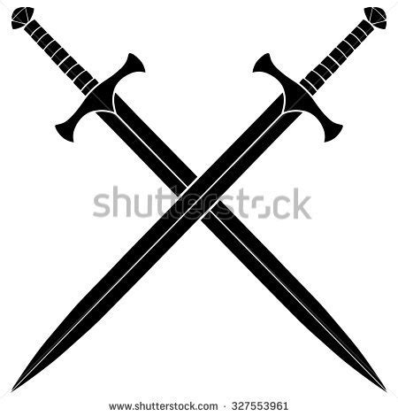 cross sword tattoo crossed daggers silhouette clipart collection