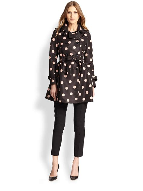 Valentino Polka Dot Clutch by Valentino Polka Dot Belted Trench Coat In Black Lyst