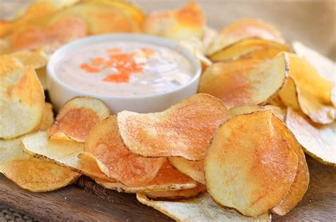 Handmade Chips - potato chips with buffalo ranch dip will cook