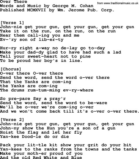 song ware world war one ww1 era song lyrics for there