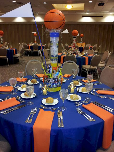 basketball themed events idea of how to set up table cloths for both grad party or