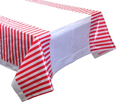 striped plastic tablecloth