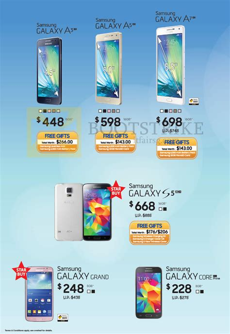 samsung galaxy note 4 price in singapore 2015 samsung smartphones galaxy a3 a5 a7 s5 grand pc show 2015 price list brochure flyer image