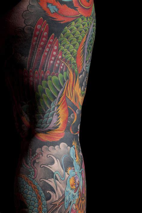 japanese phoenix tattoo half sleeve japanese phoenix dragon leg sleeve mark thompson tattoo