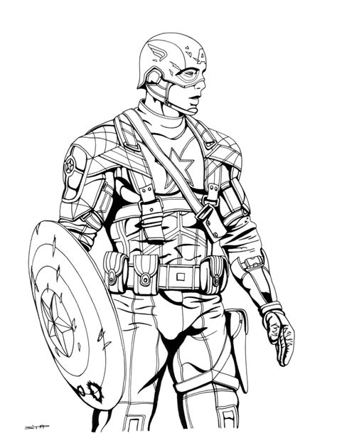 10 coloring pages of captain america the winter soldier