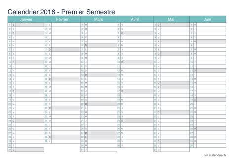 Calendrier 2016 Vierge Semestriel Calendrier 2016 224 Imprimer Pdf Et Excel Icalendrier Fr