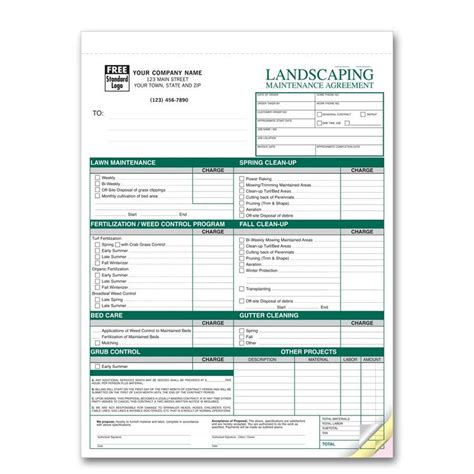 Landscaping Invoice Work Order Designsnprint Landscaping Bill Template