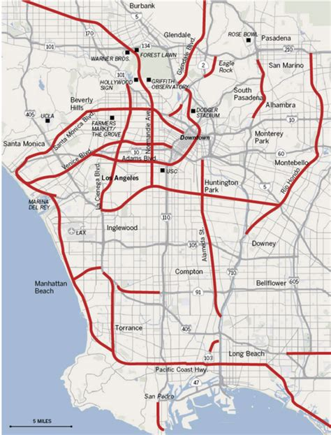map of los angeles with freeways the tortured journey to bring rail back to los