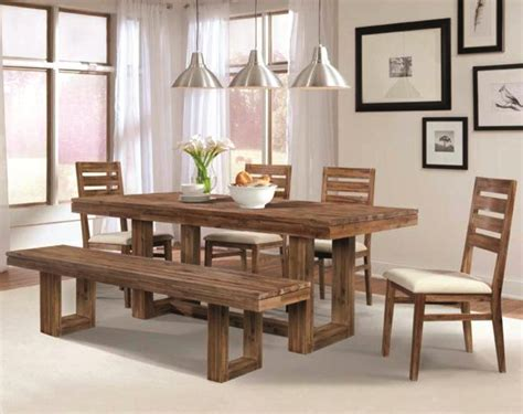 dining room table and bench set chrome triple pendant lights over rectangular dining table