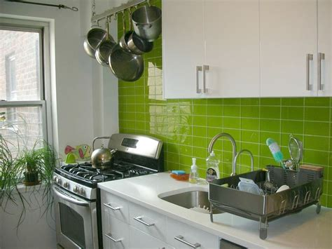awesome lime green glass tile backsplash kitchen