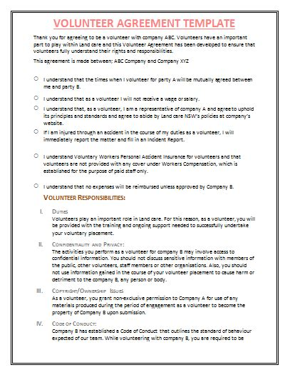 Volunteer Agreement Template By Agreementstemplates Org Volunteer Agreement Nonprofit Template
