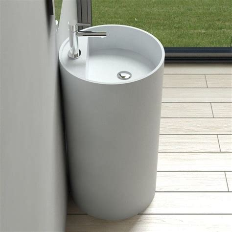 Modern Bathroom Pedestal Sink Free Standing Solid Surface Modern Pedestal Sink 18 X 18 Inch Dw 201 Bathrooms Warm