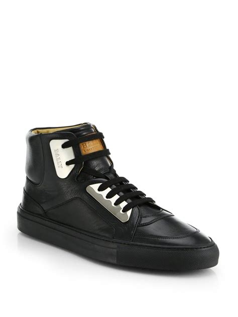 high top bally sneakers bally hexy metal plate high top sneaker in black for