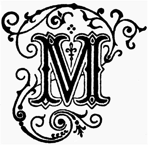 Decorative Alphabets And Initials by Decorative Letter M Clipart Etc