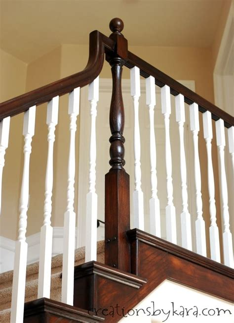 oak banister makeover general finishes java stain transformed my oak banister