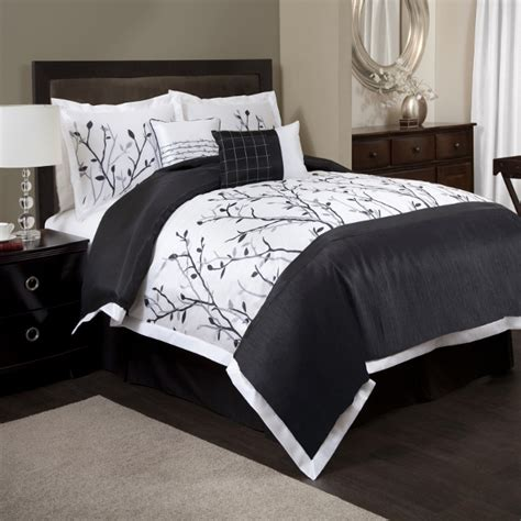 black cal king comforter 6pc black white tree branch embroidered pintuck