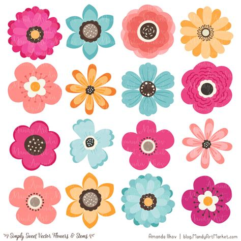 flower clipart bohemian flower clipart vectors