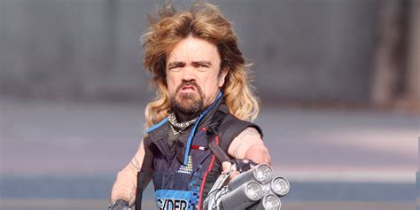 actor midget game of thrones peter dinklage with a mullet laser cannon on the set of