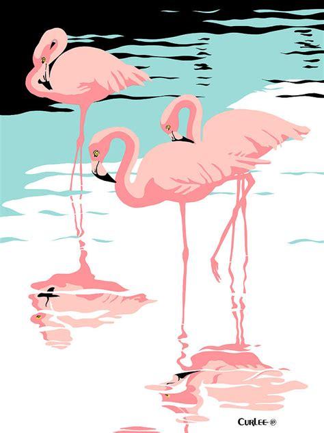 printable retro art pink flamingos tropical 1980s abstract pop art nouveau