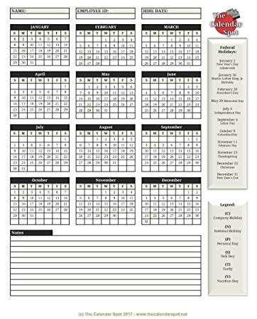 Free Printable Employee Attendance Calendar 2018 Pertamini Co Free 2018 Employee Attendance Calendar Templates At Allbusinesstemplates