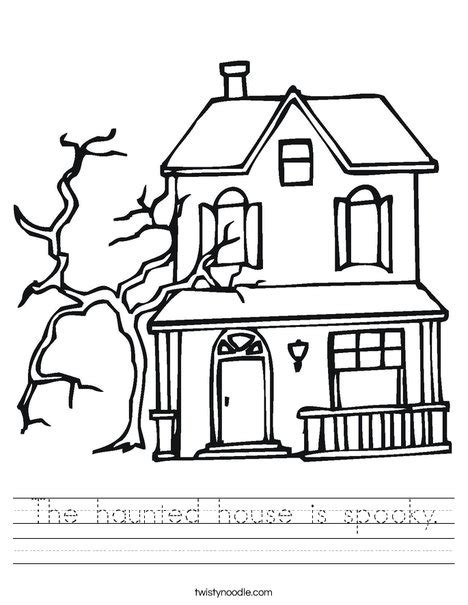 spooky castle coloring page the haunted house is spooky worksheet twisty noodle