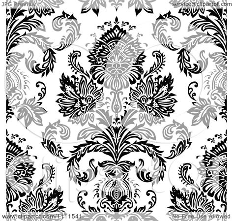 design pattern use clipart seamless black and white vintage floral pattern 3
