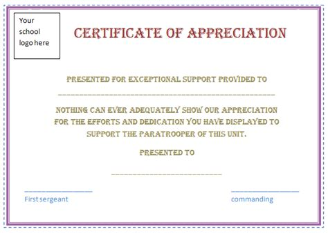 appreciation certificate template free certificate templates