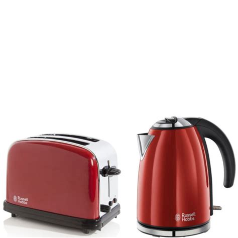 Arts And Crafts Kitchen Design Russell Hobbs 1 7 Litre Jug Kettle Flame Red And 2 Slice
