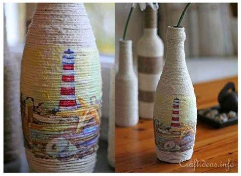 kreasi membuat pot bunga  botol bekas  benang rami