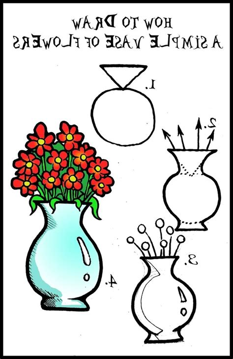Flower Vase Drawing Step By Step by Pictures Flower Vase By Drawing Drawing Gallery