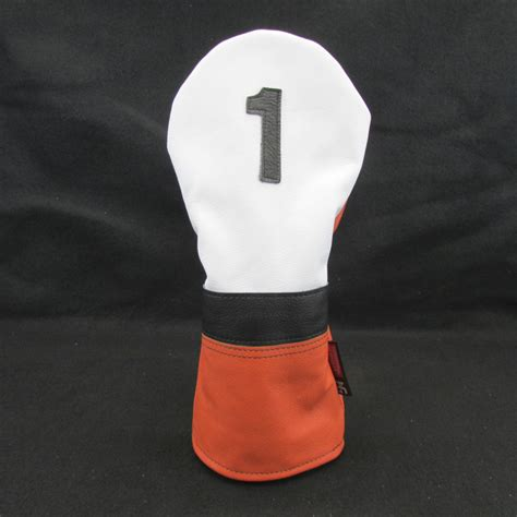 Handmade Golf Headcovers - bright orange white classic style leather golf headcover