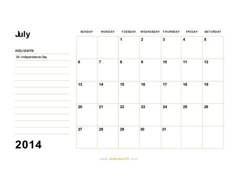 July 2014 Calendar July 2014 Calendar Blank Printable Calendar Template In