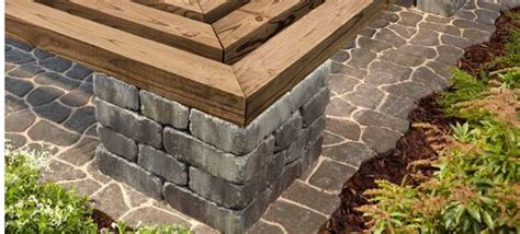 pavers and wood for benches patio