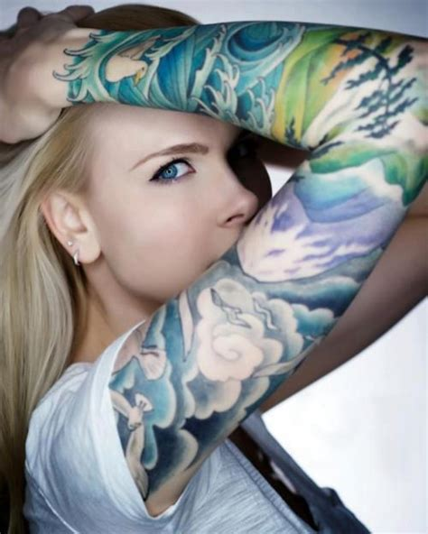 tattoo girl color arm tattoo women color tattoo love