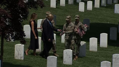 trump visits arlington national cemetery  memorial