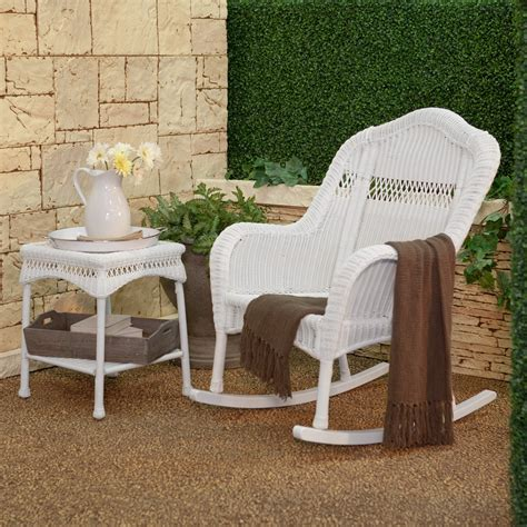 White Wicker Rocking Chair Outdoor by Coral Coast Casco Bay Resin Wicker Rocking Chair With