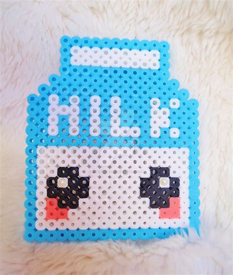 kawaii perler perler kawaii milk by kawaiideathy on deviantart
