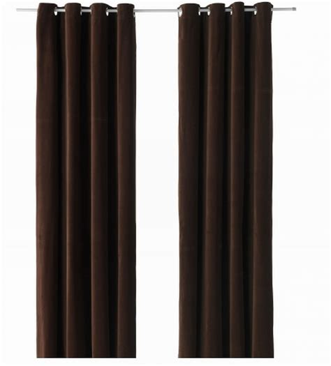 ikea grommet curtains ikea sanela curtains drapes 2 panels dark brown velvet 98