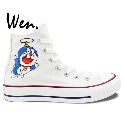 Doraemon Shoes wen anime white unisex painted shoes custom design doraemon s high top