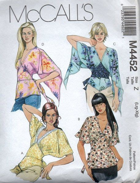 Mccall Butterfly Sleeve Dress by Mccall S Sewing Pattern Boho Style Blouse Handkerchief Hem