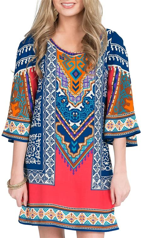 Tribal Boho Oby Dress 1 flying tomato s multicolored tribal tunic dress would be so with cowboy boots
