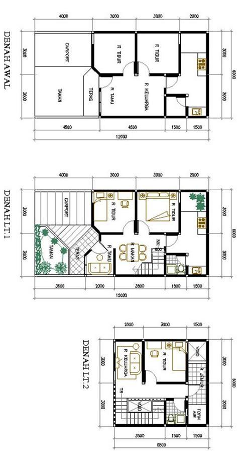 desain rumah ukuran 6x12 meter denah rumah 7 5x12 denah rumah